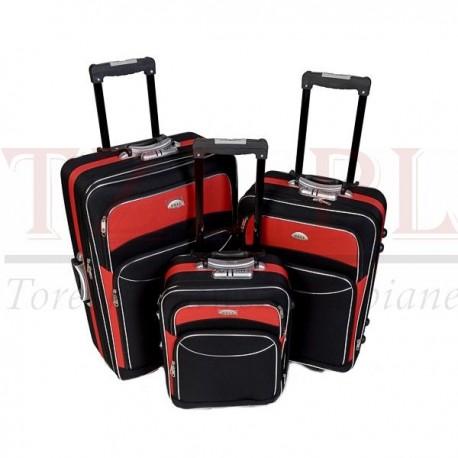 Średnia walizka Deli 101 Czarna z czerwonym