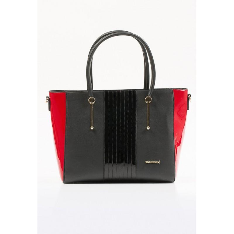 Torebka Monnari 9680-M05 Czarna z czerwonym