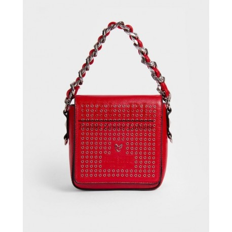 Torebka Femestage Czerwona elegancka listonoszka z dżetami 63471