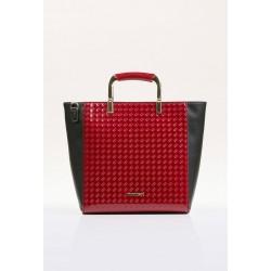 Torebka Monnari Czerwona z czarnym elegancka lakierowana 2460