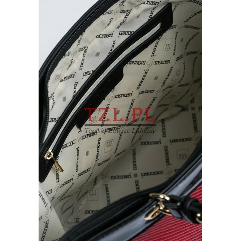21f1e4c745f13 Torebka Monnari Czarna z czerwonym klasyczna shopperka 3700