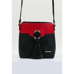 Torebka Monnari czarna z czerwonym listonoszka z frędzlem 3710