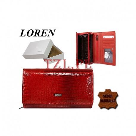 Portfel Loren damski lakierowanyCzerwony 72035-RS
