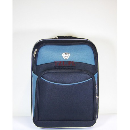 Mała walizka (XS) Czarna z szarym materiał